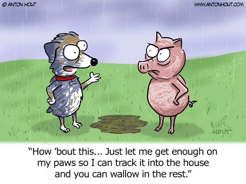 Australian Shepherd Cartoon by Anton Hout