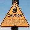 Rattlesnake caution sign.