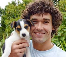 Doggy Dan, The Online Dog Trainer with his puppy Moses.