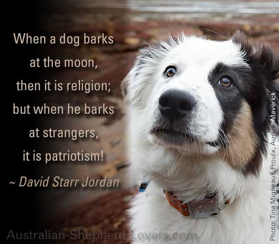 When a dog barks at the moon, then it is religion; but when he barks at strangers, it is patriotism! ~ David Starr Jordan