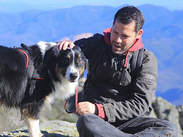 Photo for Dog Shock Collar Article featuring Australian Shepherd and man outdoors.
