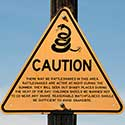 Rattlesnake caution sign.