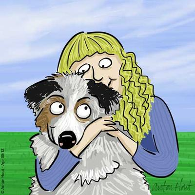 Cal Orey and Australian Shepherd, Skye.