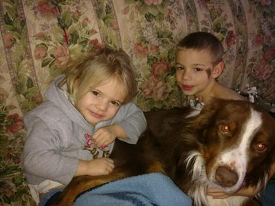 Buster with kids